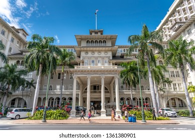 Honolulu, Hawaii - April 1, 2019: Exterior facade of the famous Moana Surfrider in Waikiki, Honolulu. The Moana Surfrider is a landmark Westin Hotel in Honolulu.