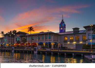 Honolulu, Hawaii - August 10, 2018: Located at Pier 9 of Honolulu Harbor, Aloha Tower is a lighthouse that is considered one of the iconic landmarks of the state of Hawaii in the United States.