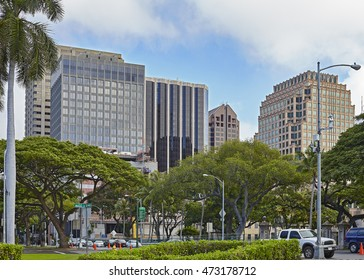 Honolulu, Hawaii - August 6, 2016: Modern commercial buildings in downtown Honolulu, Hawaii, historically, the business and economic center of Hawaii.