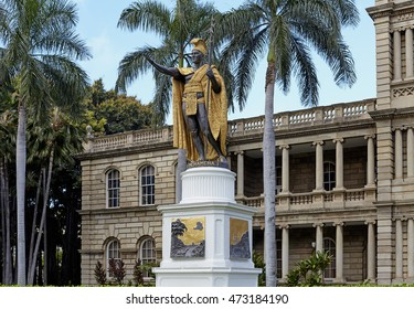 Honolulu, Hawaii - August 6, 2016: King Kamehameha Statue in front of the old Judiciary Building in downtown Honolulu, Hawaii. Kamehameha the Great united and ruled from 1756-1819.