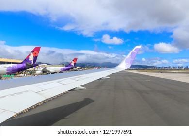 Honolulu, Hawaii - Dec 22, 2018 : Jet airplanes of Hawaiian Airlines at Honolulu International Airport