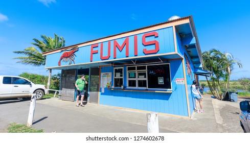 Honolulu, Hawaii - Dec 24, 2018 : Fumi's Garlic shrimps shop at North shore Oahu