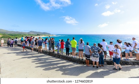 Honolulu, Hawaii - Dec 24, 2018 : View of the Halona Blowhole Lookout, Tourist Attraction in Oahu island