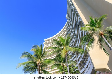 Honolulu, Hawaii - Dec 25, 2018 : View of the Sheraton Waikiki, Beachfront hotel at Waikiki beach