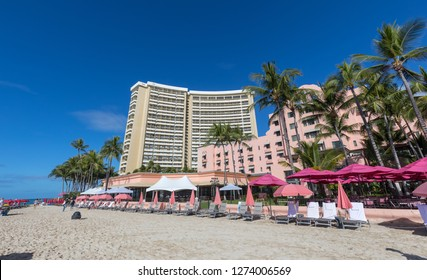 Honolulu, Hawaii - Dec 25, 2018 : View of the Royal Hawaiian, a Luxury Collection Resort, Waikiki beach