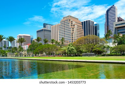 Honolulu, Hawaii , the downtown buildings seen from the State Capitol  garden