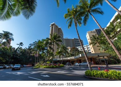 Honolulu, Hawaii - January 15, 2017: Built in 1971 and overlooking Waikiki Bay, the Sheraton Waikiki Hotel is a modern resort hotel located on Waikiki Beach
