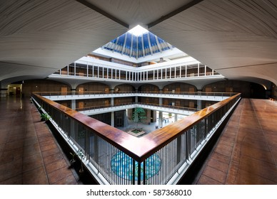 HONOLULU, HAWAII - JANUARY 15: Open air atrium in the Hawaii State Capitol on Beretania Street on January 17, 2017 in Honolulu, Hawaii