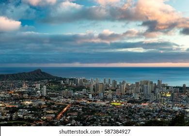 HONOLULU, HAWAII - JANUARY 17: Waikiki and Diamond Head from the Tantalus Lookout in Puu Ualakaa State Park on January 17, 2017 in Honolulu, Hawaii
