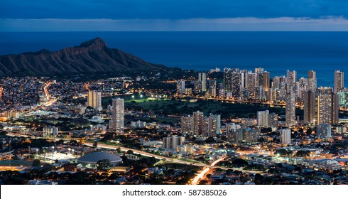 HONOLULU, HAWAII - JANUARY 17: Waikiki and Diamond Head from the Tantalus Lookout in Puu Ualakaa State Park on January 17, 2017 in Honolulu, Hawaii