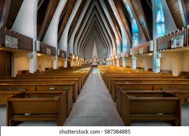 HONOLULU, HAWAII - JANUARY 18: Interior of the Saint Augustine by the Sea Catholic Church on Ohua Avenue on January 18, 2017 in Honolulu, Hawaii