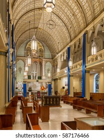 HONOLULU, HAWAII - JANUARY 24: Interior of the Cathedral Basilica of Our Lady of Peace on Bishop Street on January 24, 2017 in Honolulu, Hawaii