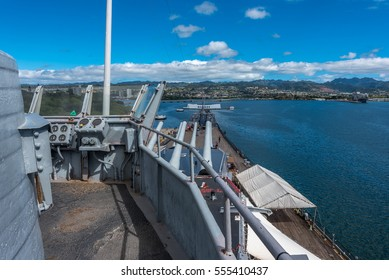 Honolulu, Hawaii - January 8, 2017: Aboard the decommissioned battleship USS Missouri in Pearl Harbor, Hawaii, where the signing of the Japanese Instrument of Surrender took place on September 2, 1945