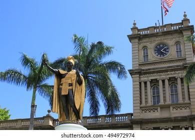 Honolulu, Hawaii. Jun. 23 2010. :King Kamehameha Statue in Aliiolani Hale. King Kamehameha was a Hawaiian king.