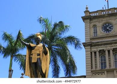 Honolulu, Hawaii. Jun. 23 2010. :King Kamehameha Statue in Iolani palace. King Kamehameha was a Hawaiian king.