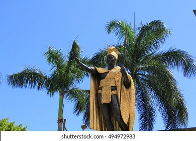 Honolulu, Hawaii. Jun. 23 2010. :King Kamehameha Statue in Iiolani palace. King Kamehameha was a Hawaiian king.