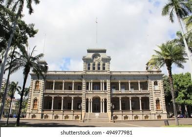 Honolulu, Hawaii. Jun. 23, 2010. :Iolani Palace in historic downtown Honolulu.