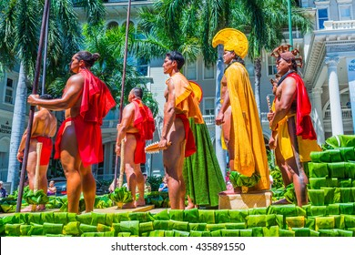 HONOLULU, HAWAII - June 11: The 100th Annual King Kamehameha Day Parade on Saturday June 11, 2016 during the final stretch along the famed Kalakaua Avenue in Waikiki Beach.