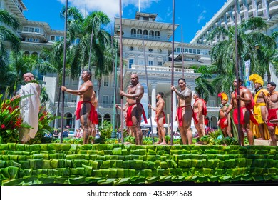 HONOLULU, HAWAII - June 11: The 100th Annual King Kamehameha Day Parade on Saturday June 11, 2016 during the final stretch along the famed Kalakaua Avenue in Waikiki Beach.