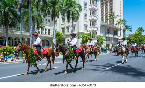 HONOLULU, HAWAII â?? June 11.  The 100th Annual King Kamehameha Day Parade on Saturday June 11, 2016 during the final stretch along the famed Kalakaua Avenue in Waikiki Beach.