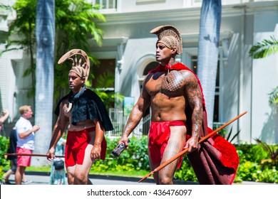 HONOLULU, HAWAII â?? June 11.  The 100th Annual King Kamehameha Day Parade on Saturday June 11, 2016 during the final stretch along the famed Kalakaua Avenue in Waikiki Beach.
