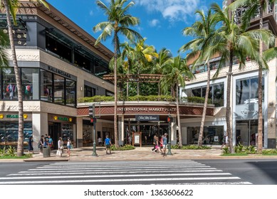Honolulu, Hawaii - March 31, 2019:  Exterior of the International Marketplace in Waikiki.  The International Marketplace is a major new retail development that replaced a market o individual vendors.