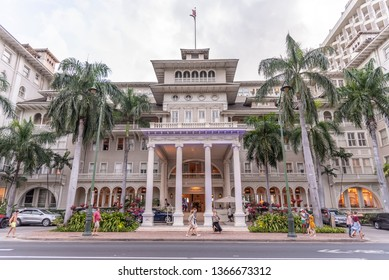 Honolulu, Hawaii - March 31, 2019: Exterior facade of the famous Moana Surfrider in Waikiki, Honolulu. The Moana Surfrider is a landmark Westin Hotel in Honolulu.