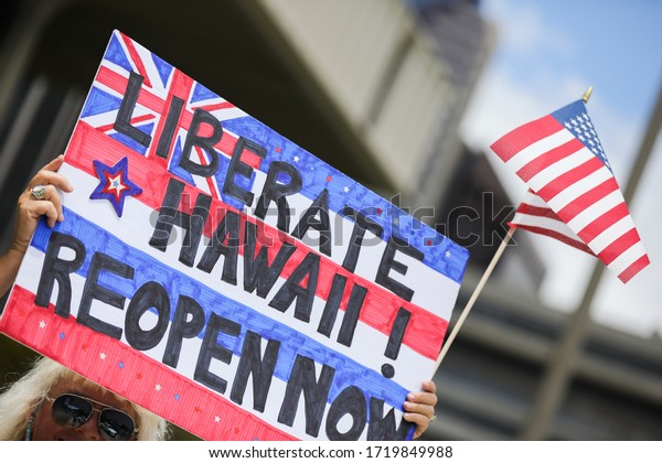 HONOLULU HAWAII: May 1st, 2020: ReOpen Hawaii Rally, Protests to reopen businesses during Coronavirus COVID-19 shutdowns at the Hawaii State Capitol.