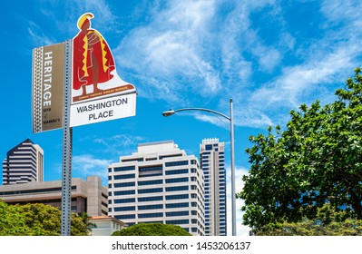 Honolulu, Hawaii - May 3,  2019: A billboard for tourists in the Historic Center