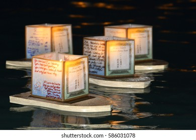 HONOLULU, HAWAII - May 30: Japanese lanterns float on the pacific ocean at Ala Moana Beach Park in a religious celebration to honor deceased loved ones on May 30, 2016 in Honolulu.