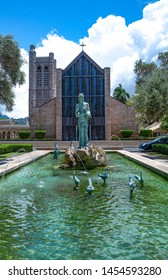 Honolulu, Hawaii - May 4,  2019: Historic Center, the fountain of the St. Andrew cathedral