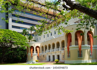 Honolulu, Hawaii - May 4,  2019: Historic Center, the State Art Museum building