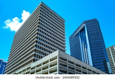 Honolulu, Hawaii - May 5,  2019: Downtown, upward view of the Queeen street's buildings