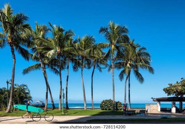Honolulu Hawaii May 5 Surfer Recreational Stock Photo (Edit