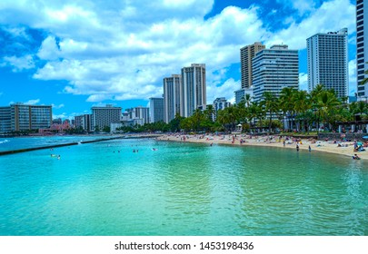 Honolulu, Hawaii - May 6,  2019: Waikiki  area, the city palaces and the beach seen from the sea