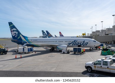 Honolulu, Hawaii - November 24, 2018 -  Alaska Airlines Boeing 737-800 with tail number N530AS on the ground at HNL international airport.