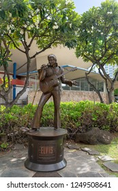 Honolulu, Hawaii - November 28, 2018 - Elvis Aloha Statue in downtown Honolulu. This statue was created to commemorate the World's First Satellite TV Concert in 1973.