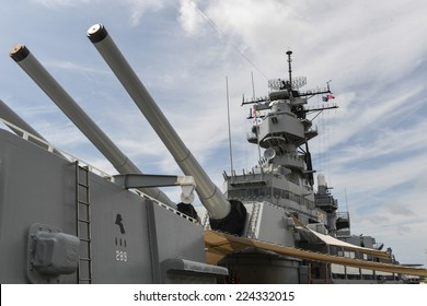 HONOLULU, HAWAII - OCTOBER 6, 2012: The Battleship USS Missouri at anchor in Pearl Harbor, Hawaii.