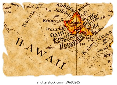 Honolulu, Hawaii on an old torn map from 1949, isolated. Part of the old map series.