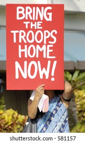 Honolulu, Hawaii - September 25, 2005 - Approximately 100 demonstrators take to the streets of Honolulu to protest the United States involvement in the war in Iraq.