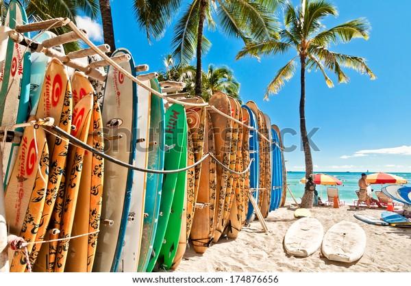 HONOLULU, HAWAII - SEPTEMBER 7, 2013: Surfboards lined up in the rack at famous Waikiki Beach in Honolulu. Oahu, Hawaii.