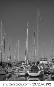 Honolulu, Hawaii, USA.  Apr. 17, 2019.  New racing sailboat at the Waikiki Yacht Club ready for the 2019 Transpacific Yacht Race.