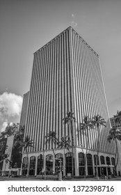 Honolulu, Hawaii, USA.  Apr. 17, 2019.  Black and white profile view of a Honolulu skyscraper with tall coconut palm trees in the foreground.