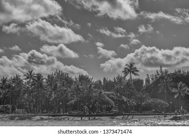 Honolulu, Hawaii, USA.  Apr. 18, 2019.  Black and white offshore view of Queen's Beach in Waikiki.