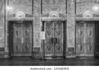 Honolulu, Hawaii, USA.  Apr. 21, 2019.  Restored lobby and elevators from 1920 at the Dillingham Building.