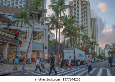 Honolulu, Hawaii, USA.  Apr. 22, 2019.  Dawn in Waikiki as daily deliveries arrive to support the large numbers of tourists and vacationers.