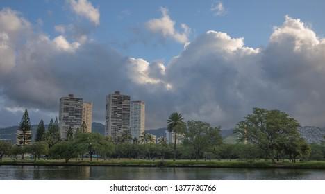 Honolulu, Hawaii, USA.  Apr. 22, 2019.  Sunrise view of the Ala Wai Canal and Golf Course.