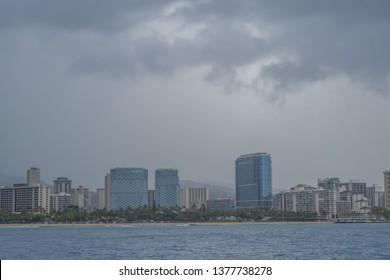 Honolulu, Hawaii, USA.  Apr. 22, 2019.  Fast moving tropical storm arrives above Waikiki.