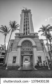 Honolulu, Hawaii, USA.  Apr. 23, 2019.  Aloha Tower at Honolulu Harbor with a view through the portal of Fort Street.