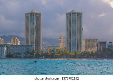 Honolulu, Hawaii, USA.  Apr. 24, 2019.  Waikiki morning as tourists enjoy the turquoise water.